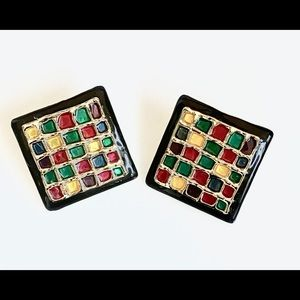 Don Lin Singed Vintage Quilt Earrings 1980's